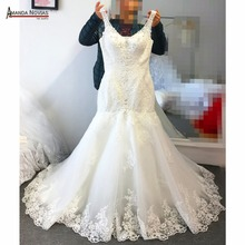 vestido de festa longo Straps V-Neck Lace Appliqued Mermaid Open Back Wedding Dress(China)