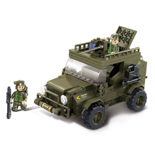 Model building kits compatible with lego city military Army jeep 3D blocks Educational model building toys hobbies for children
