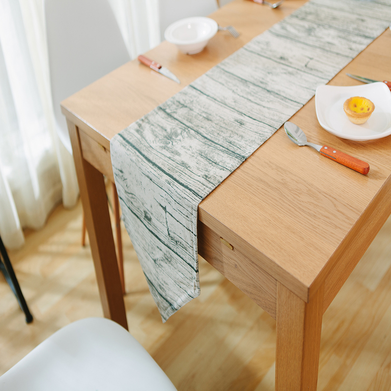 Retro Wood Grain Table Runner Creative Fashion Table Runner Fabric Cotton  Linen Runners Home Party Runner