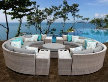 Sigma all weather deep seating luxury rattan mobile modern home center sofa(China)