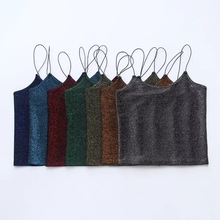 2017 sexy spaghetti strap crop top vest fitness women casual gold gray red green blue brown purple haut femme shirt tank tops