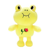 Plush Frog Dolls Stuffed Cartoon Animal Toys with Rose Printed Sucker for Kids Boys Girls Birthdays Gifts 10'' Yellow(China)