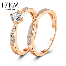 Buy 17KM Rose Gold Wedding Rings Jewelry Cubic Zirconia Ring Women Rings Set Female Engagement Party Statement Jewelry Gift for $2.27 in AliExpress store