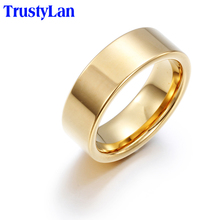 TrustyLan Fashion Luxury Jewelry Gifts For Men Never Fade Gold Color Tungsten Ring Cool Golden Mens Rings Full Big Size 6--13(China)