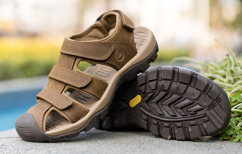 Summer Man Sandals Beach Shoes 2018 High Quality Genuine Leather Prevent Slippery Wear-resisting Outdoor Sandals Large Size 46 15 Online shopping Bangladesh