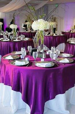 Elegant 145x145cm Satin Tablecloth Table Cover Purple Colorfor Wedding Party  Banquet Decor(China (Mainland)