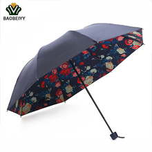 BAOBEIYY Brand Flowers Printed Umbrella 7 color 3 Fold Women Sun UV Protection Umbrellas and For Rain Hot Sale Promotional items