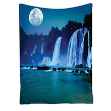 Waterfall Under Moonlight Full Moon Nature Night Print, Bedroom Living Kids Girls Boys Room Dorm Accessories Wall Hanging Tape