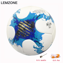 Best quality Blue Official Match Soccer ball PU Football Size 5 ball Football league champions 2017 futbol sports training Ball(China)
