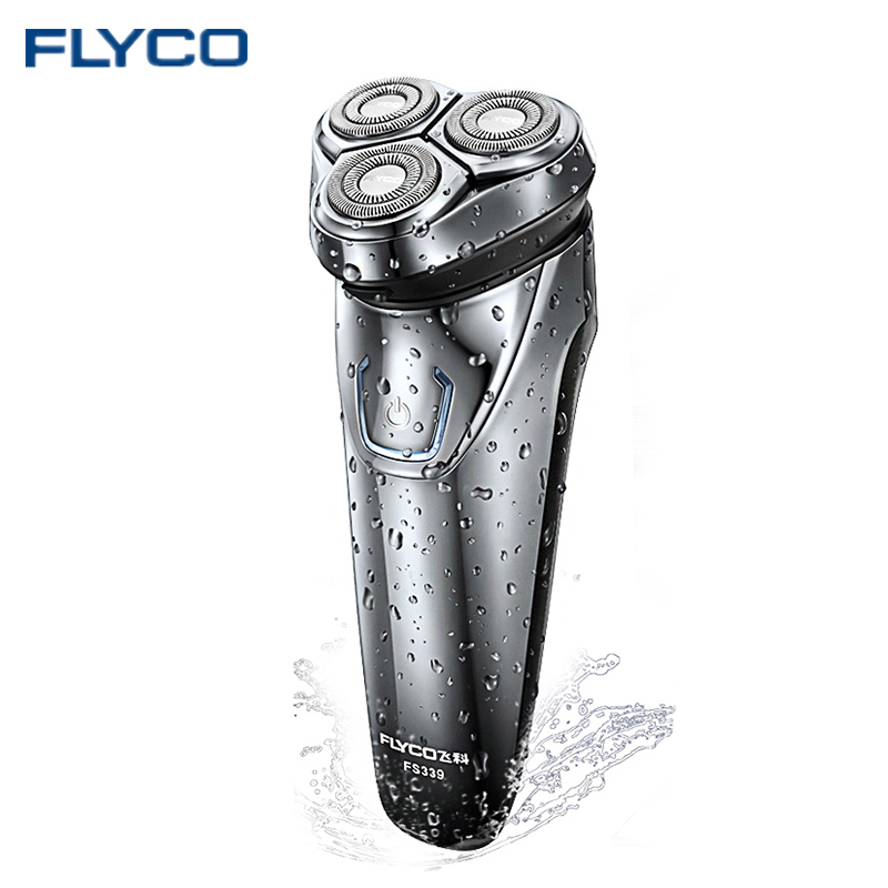 Hot FLYCO Washable Rechargeable Rotary Mens Electric Shaver Razor with 3D Floating Heads 1 Hour Quick Charge Hair Removal FS339<br>