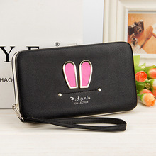 Lunch Box Purse Wallet Female Famous Brand Card Holders Cellphone Pocket Gifts Women Money Bag Clutch Bag Rabbit Ears Version