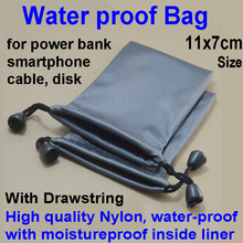 Waterproof nylon small Drawstring Bag Travel Storage Case for power bank earphone cable diver disk of iphone samsung smart phone