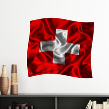 Silk Texture Switzerland Abstract Flag Pattern Removable Wall Sticker Art Decals Mural DIY Wallpaper for Room Decal(China)
