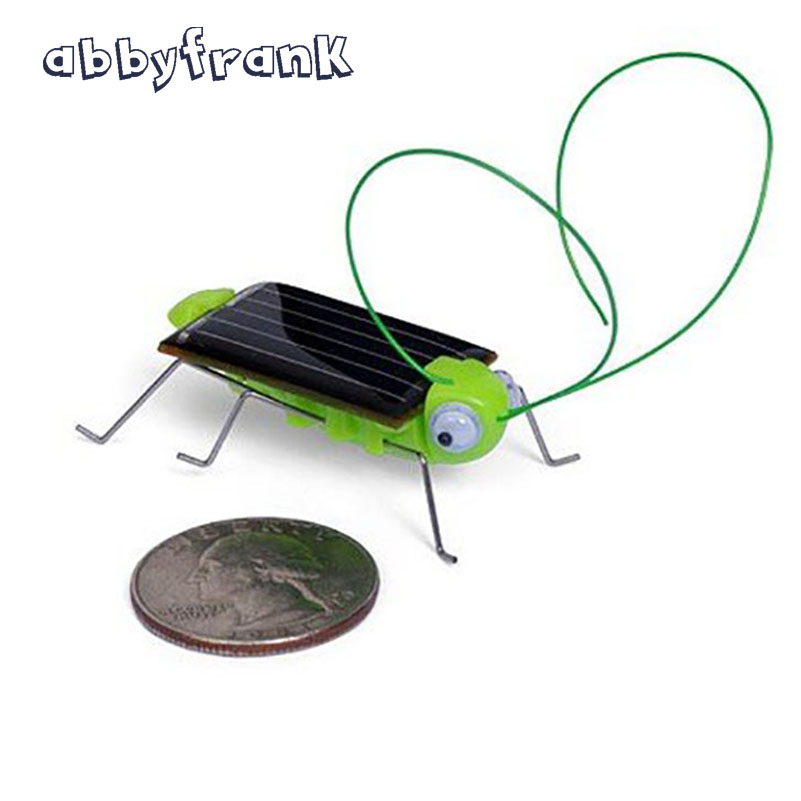 Abbyfrank Grasshopper Solar Toys Cricket Insect Kids Mini Green Solar Power Toys Tiny Robots Novelty & Gags Toy Outside(China)