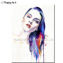 Handmade Original Colorful Beautiful Women Painting on Canvas for Home Decor Impression Figure Painting(China)