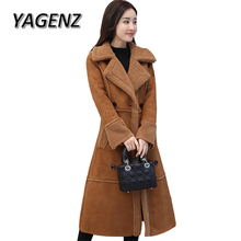 New Winter Suede Lambs wool Long Coats Women 2018 Korean Slim Suede Thick Warm Cotton Outerwear Double breasted Casual Jackets(China)