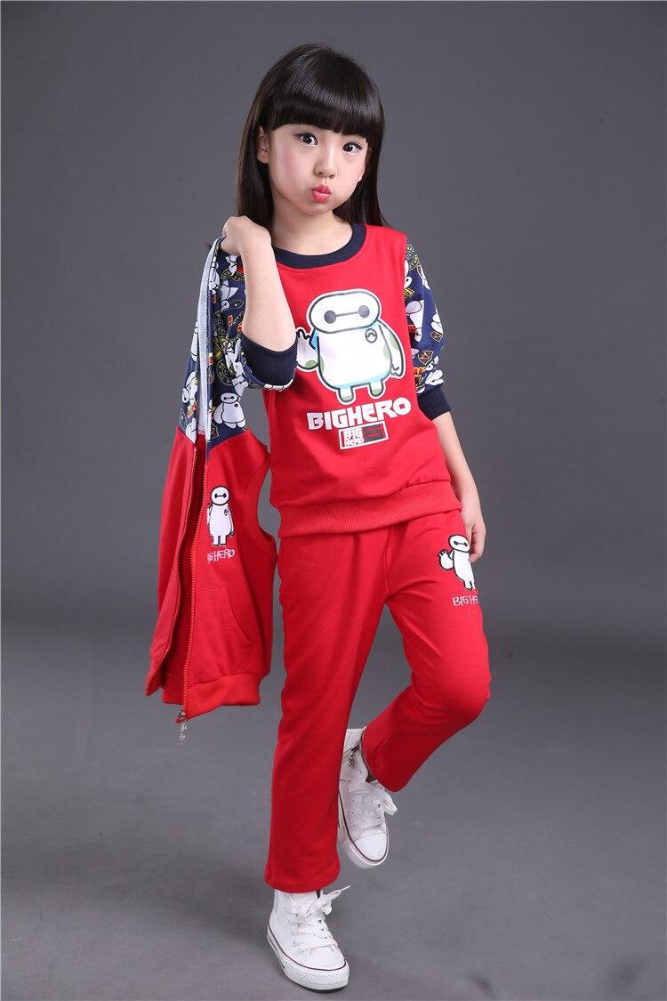 [Bosudhsou.] JH-38 Childrens Clothing Sets Kids Zipper Clothes Set Child Sport Suits Big Girl t shirt+coat + Pants cartoon Sets<br><br>Aliexpress