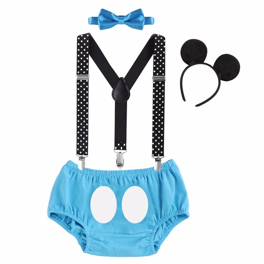 4pcs Set Baby Boys Mickey Mouse 1st Birthday Cake Smash Outfit