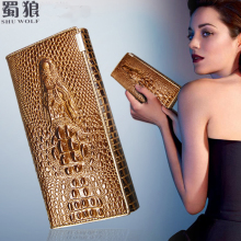 SHU WOLF Women Wallet Hasp Coin Purses Holders Brand Genuine Leather 3D Embossing Alligator Ladies Crocodile Long Clutch Wallets