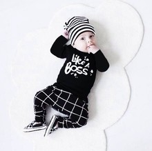 2017 Autumn Fashion baby boy clothes unisex black cotton long-sleeved letter milk T-shirt+trousers newborn baby boy clothing set
