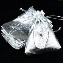 100Pcs 13x18cm Silver Plain Organza Gift Bags Wedding/Christmas Favor For Jewelry Packaging Can Customized Logo Gift Bags(China)
