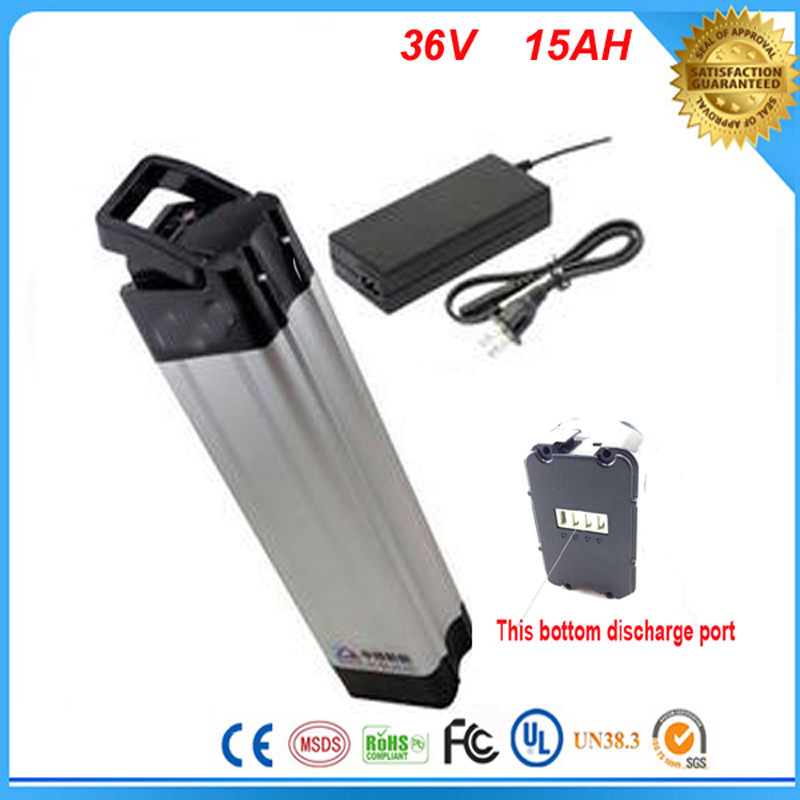 New electric bicycles 36V 15Ah battery With 42v 2a charger 36v 15ah silver fish case Li-ion battery 36v 15ah E-bike batteries(China (Mainland))