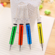 2Pcs/Lot Liquid Novelty Syringe Ballpoint Pen Stationery Cute Syringe Ball point Pen Office Supplies Child Gift(China)