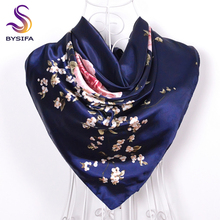 [BYSIFA] Navy Blue Chinese Roses Large Square Scarves New Female Elegant Large Silk Scarf Fashion Ladies Accessories 90*90cm(China)