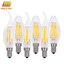 [MingBen] 6pcs LED Filament Bulb Lampada LED Light 220V bombillas LED Edison COB Bulb E14 C35 Candle Light 2W 4W 6W 360 Degree(China)
