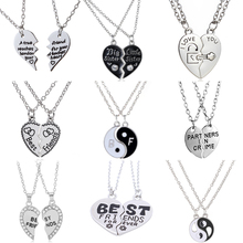 Wholesale Best Friends Necklace 2Parts Charming Splice Broken Heart Letter Pendant Forever Silver And Gold Friendship Jewelry