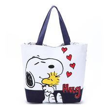 Kawaii Double-sided Printing Snoopie Cartoon Dogs Canvas Hand Bag Female Women Portable Storage bags 39*31*11CM Christmas gift