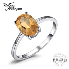 JewelryPalace Oval 1.1ct Natural Citrine Birthstone Solitaire Ring 925 Sterling Silver Engagement Rings Women Gemstone Jewelry