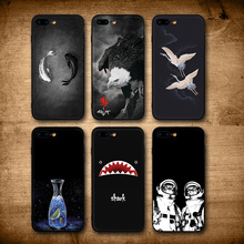 IIOZO iPhone 7 8 8 Plus Case Cool Fishes Shark Eagle Cat Man Bottle Silicone Black Back Cover iPhone 8 Phone Cases