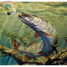 5D полный дрель картина, вышитая бисером животные diy Алмазная Вышивка Комплект мозаика ремесло Стразы изображение большая рыба AB308(China)