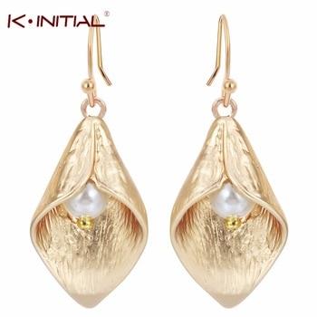 New A Pair Wholesale Women Brand Calla Lily Earrings Wedding Dangle Rhinestone Long Ethnic Earrings Fashion for women gift