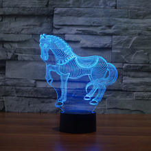 Colorful 3D Horse Creative Acrylic Visual Light LED Lamp Bedroom Table Decoration Lamps Night Light Gifts 3D-TD169