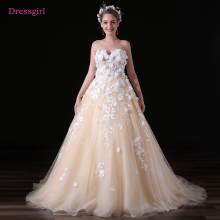 Buy Champagne Vestido De Noiva 2018 Wedding Dresses Ball Gown Sweetheart Tulle Lace Flowers Cheap Boho Wedding Gown Bridal Dresses for $109.20 in AliExpress store