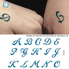 Water Transfer Tattoo Cute English letters alphabet tattoo word A-O Waterproof Temporary fake Tattoo Sticker for man woman kid(China)