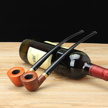2 colors Long Style Briar Wooden Smoking Pipe for Tobacco Heather Smoking Tobacco Wooden Pipe With 6 Smoking Tools set aa0079
