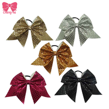 Soft Sequins Bow Cheerleading Style Glitter Cheer Bow Elastic Hair Bands Rope Scrunchie Ponytail Holder