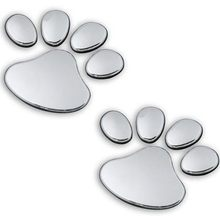 2PCS 3D Dog Bear Footprints Chrome Badge Emblem Car Stickers Decal Dog paw Dog Footprint 3D PVC For Skoda Fabia Octavia Skoda
