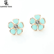 Claire fashion accessories stud earring pack enamel alloy little flower crystal stud earrings for children girls brinco(China)