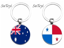 SUTEYI 25MM Glass Pendant Key Chain Panama/Australia Flag Men Car Key Ring Accessories Keychain Jewellery Key Holder(China)