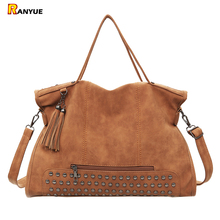 Vintage Rivet Nubuck Leather Women Bag Fashion Tassel Messenger Bag Tote Bags Women Large Capacity Shoulder Bag Bolsas Feminina(China)