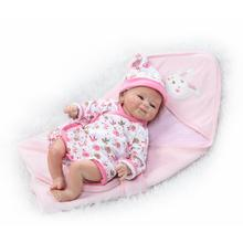 "Bebe realistic reborn dolls 16""42cm soft silicone reborn dolls fake baby newborn girl with pink quilt pacifier bottle bonecas"
