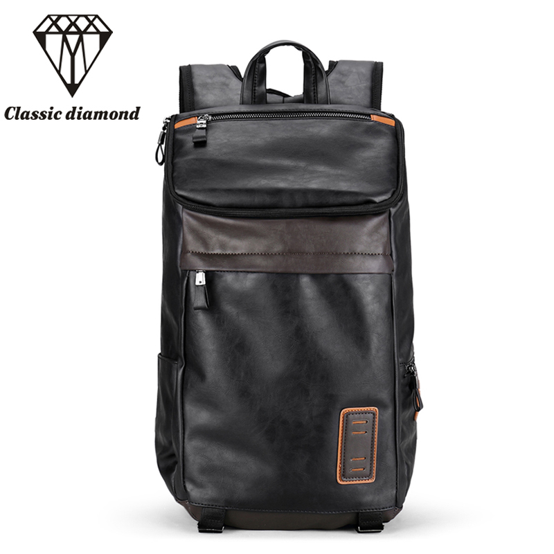 Mens Backpack Men PU Leather School backpacks For Teenagers 14 inch Laptop Bag Fashion Multi-pocket Travel Bags 2017<br>