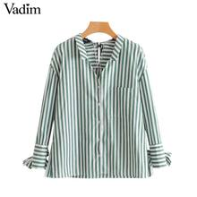 Vadim women sweet bow tie striped shirts V neck long sleeve pocket side split blouse ladies autumn chic tops blusas mujer LT2443(China)