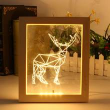 3D LED Night Light Photo Frame Deer Illuminated Night Lamp Home Desk Table Lamp For Bedroom Christmas Gifts(China)