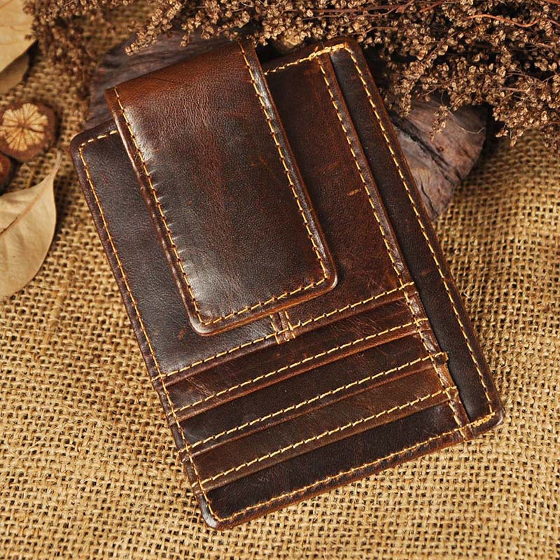 Top Quality New Cattle Men male Vintage Genuine leather Credit Card Cash Holder Magnet Clip Slim Mini Handy Wallet Purse 1058<br><br>Aliexpress