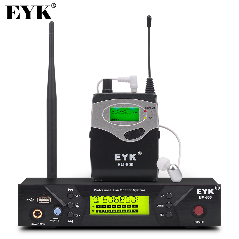 EM-600 Wireless In Ear Monitor System Professional Stage Performance Ear Monitoring Systems with One Bodypack Transmitter title=